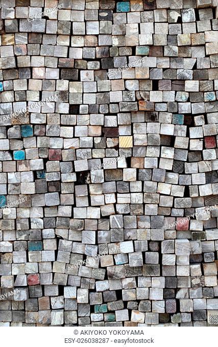 Stack of wood planks on lumber yard