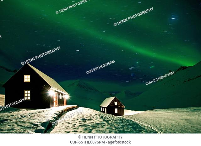 Chalets with Northern lights, Skidadalur Valley, Iceland