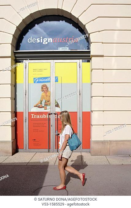 girl walking at Museum Quarter, Vienna, Austria