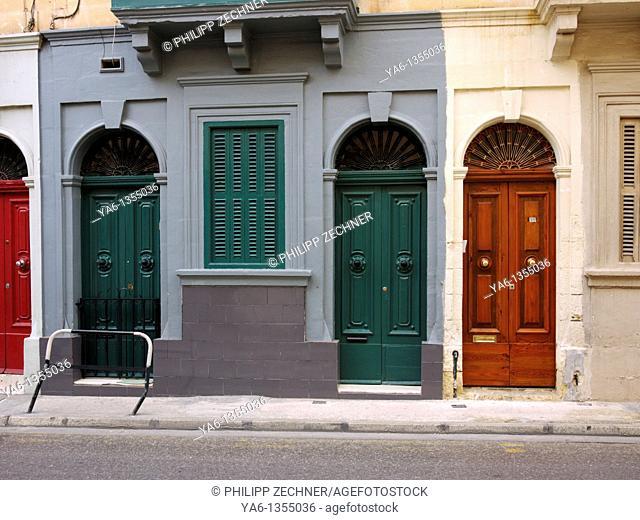 Traditional housefronts in Sliema, Malta