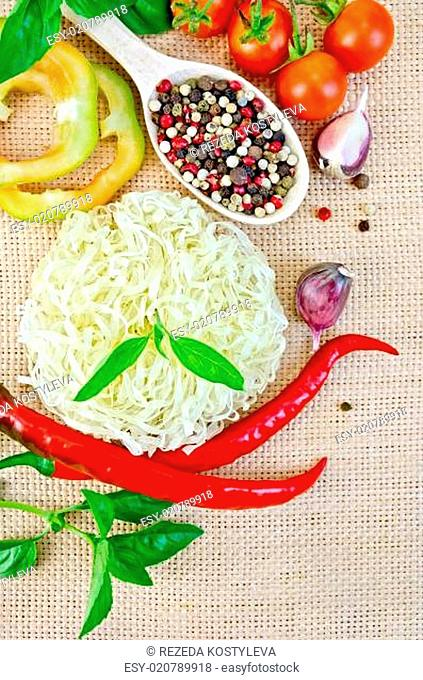 Noodles rice twisted with peppers and vegetables