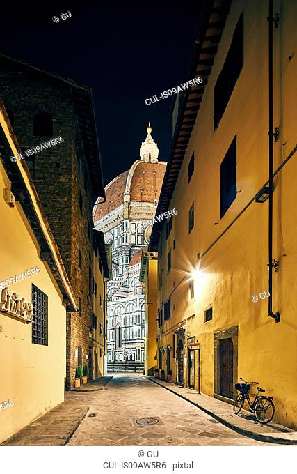 Street view of Florence Cathedral at night, Florence, Italy