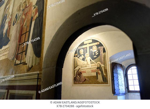 Florence. Italy. Museo di San Marco. . Christ at the Sepulchre with the Virgin and Saint Thomas, fresco 1437-45, cell 26, by Fra Angelico and assistants