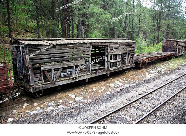 Old box car along Durango and Silverton Narrow Gauge Railroad Steam Engine Train near Durango, Colorado, USA