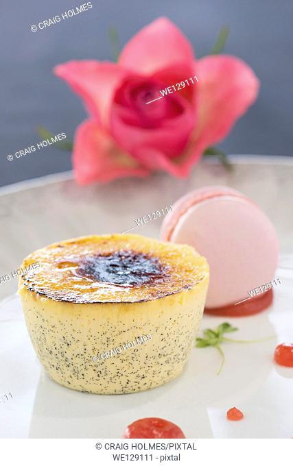 Crème brûlée served in a restaurant