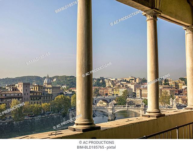 Balcony overlooking Rome cityscape, Lazio, Italy