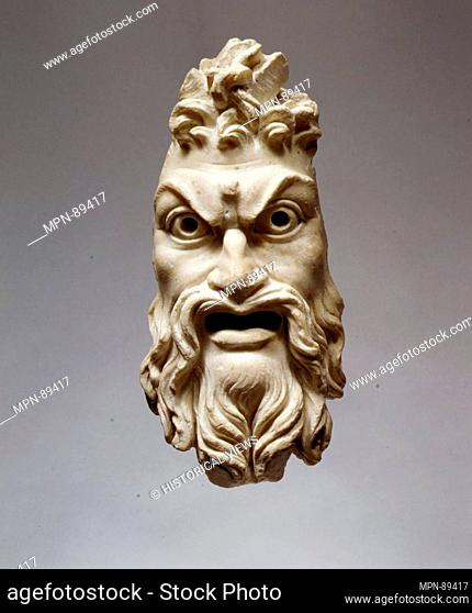 Marble mask of Pan. Period: Early Imperial; Date: 1st century A.D; Culture: Roman; Medium: Marble; Dimensions: H. 11 1/8 in. (28.3 cm); width 5 in