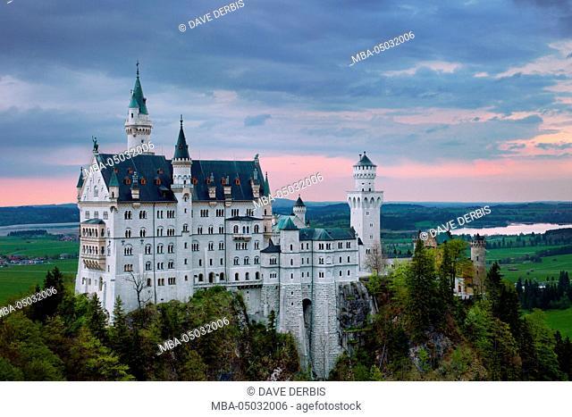 Sundown, Neuschwanstein Castle (New Swanstone Castle), castle, fairytale castle, Bavaria, Germany
