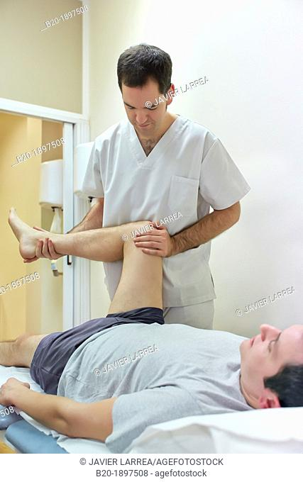 Mobilization passive hip external rotation to win articular arc  Physiotherapy medical center, Donostia, San Sebastian, Gipuzkoa, Basque Country, Spain