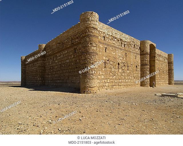 Castle of al-Kharana (Qasr al-Kharana), 705-710, 8th Century A.D., stone building. Jordan, Amman. Whole artwork view. Partial view of Al-Kharrana from south