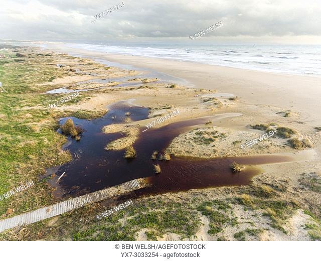 Los Lances beach inundated after a storm. Tarifa, Costa de la Luz, Cadiz, Andalusia, Spain