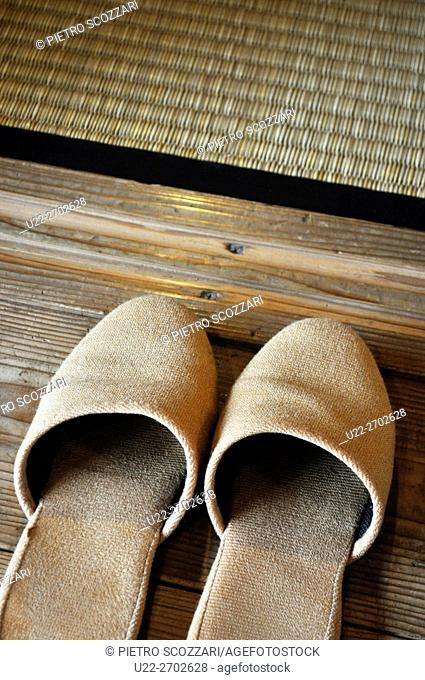 Slippers at the entrance of a room, Naha, Okinawa, Japan
