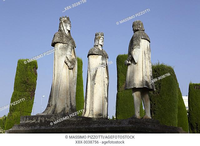 Statues of Queen Isabella, King Ferdinand and Christopher Columbus in the Alcazar gardens, Cordoba, Spain