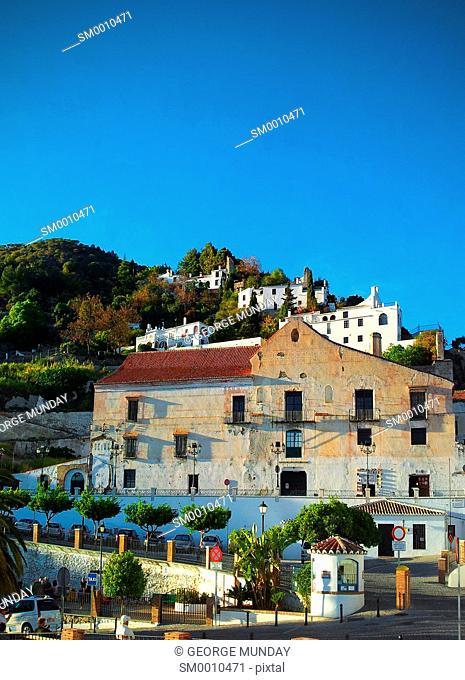 The Palace of the Counts of Frigiliana sugar refinery, Street Scene in Frigiliana, Near Nerja, Malaga, Spain
