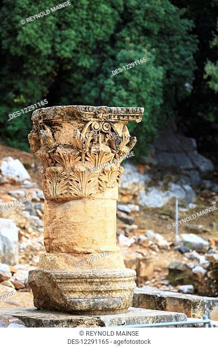 Ancient ruins of a decorative column; Caesarea Philippi, Israel