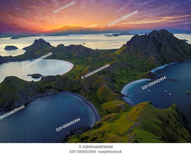 Panoramic view of majestic Padar Island during magnificent sunset. Soft focus and Noise slightly appear due to high iso