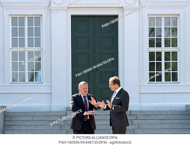 06.09.2018, Brandenburg, Neuhardenberg: Lars Lokke Rasmussen (l), Prime Minister of Denmark, and Alexander Dobrindt of the Christian Social Union (CSU