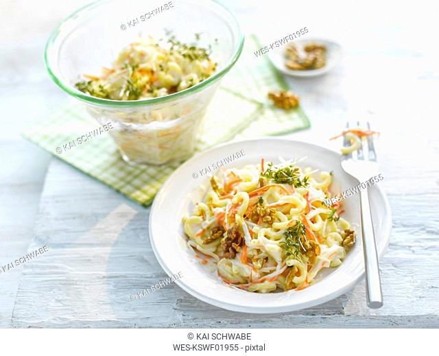 Noodle salad with carrot, walnut and cress