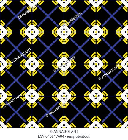 Fabric print. Geometric pattern in repeat. Seamless background, mosaic ornament, ethnic style. Design for prints on fabrics, textile, surface, paper, wallpaper