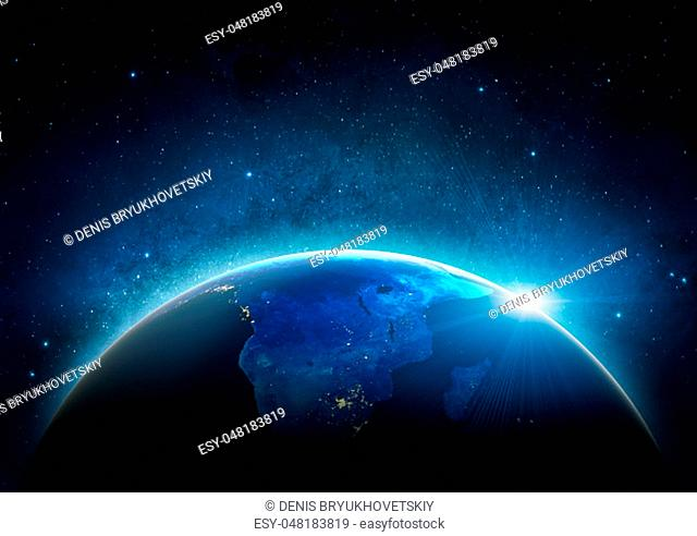 Africa from space. 3D Rendering. Stars my own photo. Elements of this image furnished by NASA