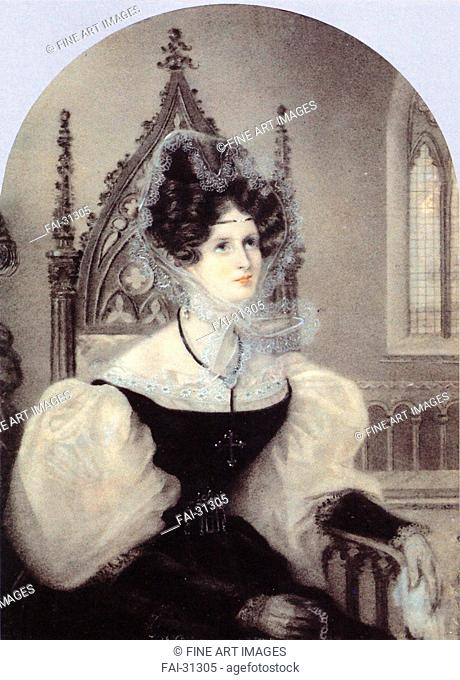 Portrait of Princess Zinaida Alexandrovna Volkonskaya (1792-1862) by Anonymous /Colour lithograph/Neoclassicism/1831/France/A