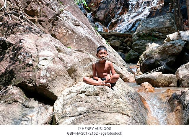 Thailand; Koh Samui; child in the water falls