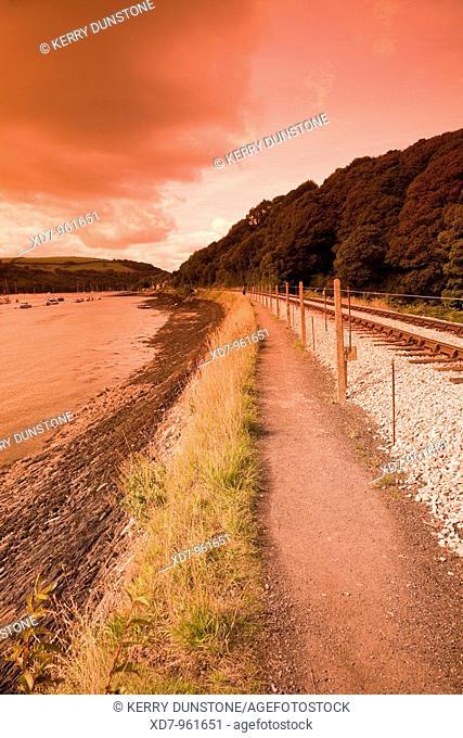England Devon Kingswear Railway line and River Dart near Britannia Crossing