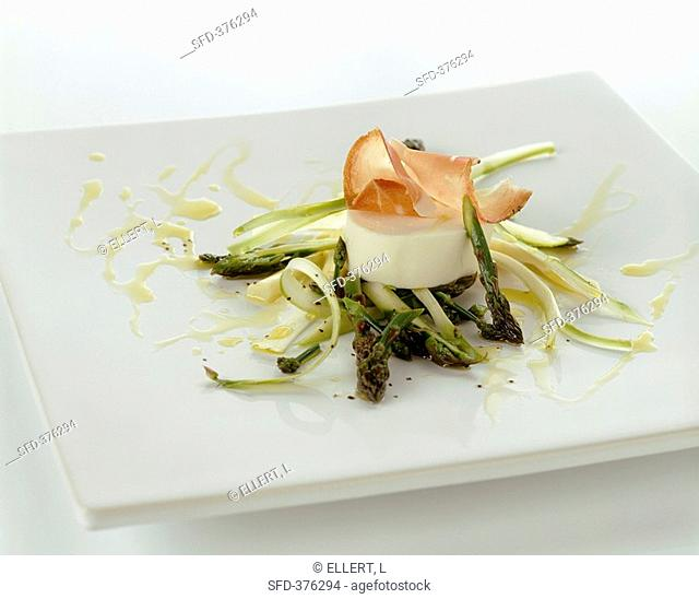 Asparagus salad with soft cheese and lemon dressing
