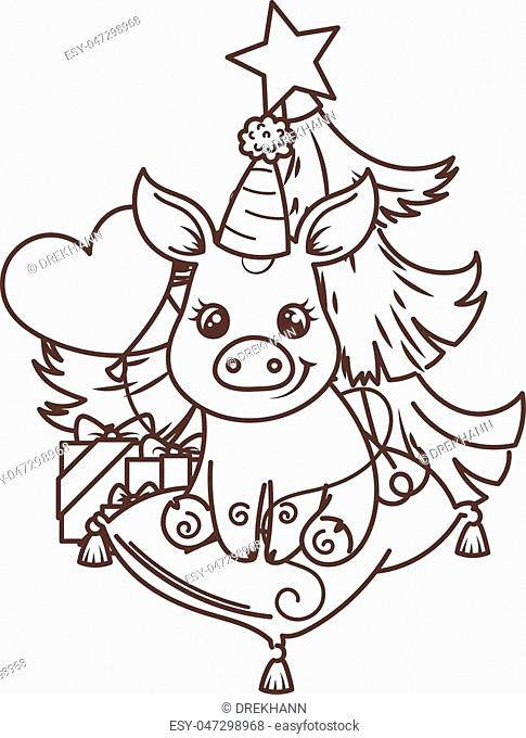 Happy New 2019 Year card with cartoon baby pig. Small vector symbol of holiday. Coloring page