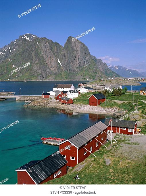 Cabins, Fisherman's, Holiday, Islands, Landmark, Lofoten, Norway, Europe, Rorbus, Sakrisoy, Tourism, Town, Travel, Vacation, Vie