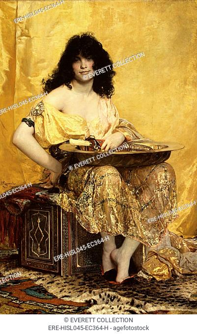 SALOME, by Henri Regnault, 1870, French painting, oil on canvas. The biblical Salome is depicted after she danced for her stepfather Herod