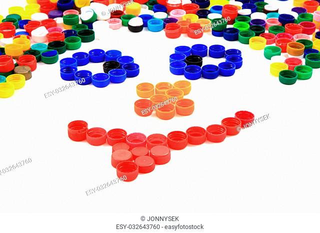 smile from color pet caps isolated on the white background