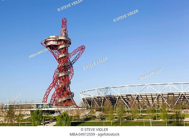 England, London, Stratford, Queen Elizabeth Olympic Park, ArcelorMittal Orbit Sculpture