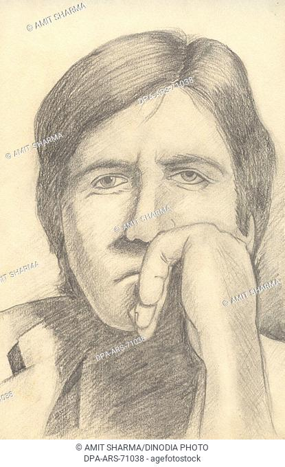 Painting , illustration , drawing black and white monochrome sketch of Indian bollywood actor Amitabh Bachchan , India