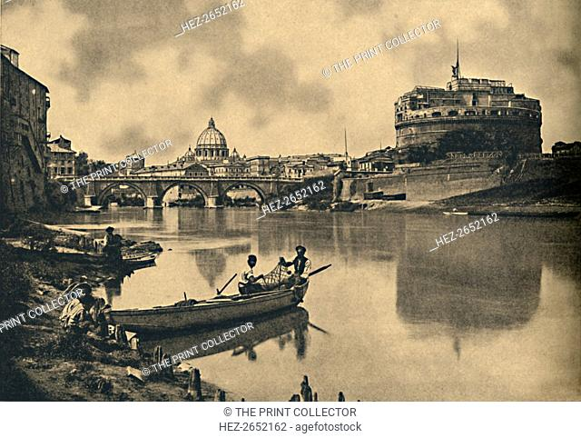 'Roma - The Tiber - Castle and Bridge of S. Angelo. Dome of St. Peter's', 1910. Ponte Sant'Angelo, once the Aelian Bridge or Pons Aelius