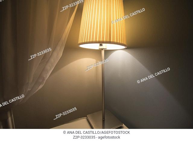 . Interior of room with courtain and lamp grey background