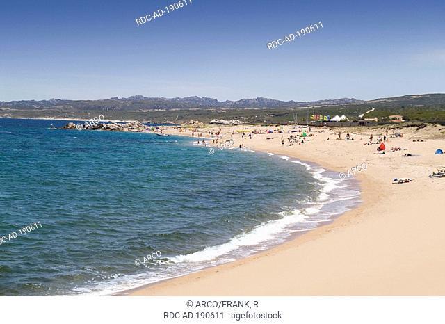 Vacationists at beach, Vignola Mare, Gallura, Sardinia, Italy, Mediterranean Sea