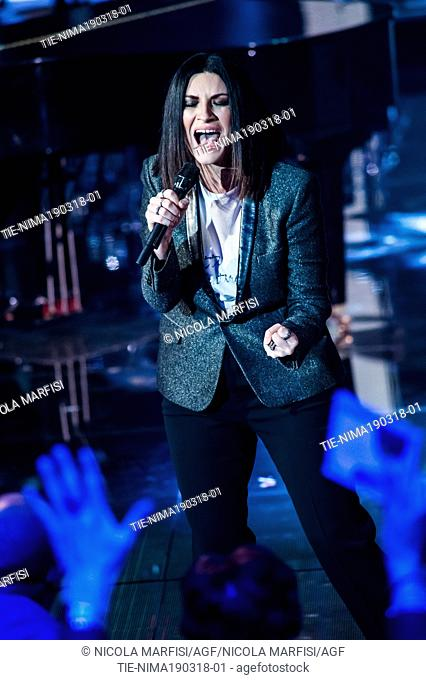 The Italian singer Laura Pausini during performance at tv show Che tempo che fa, Milan, ITALY-18-03-2018