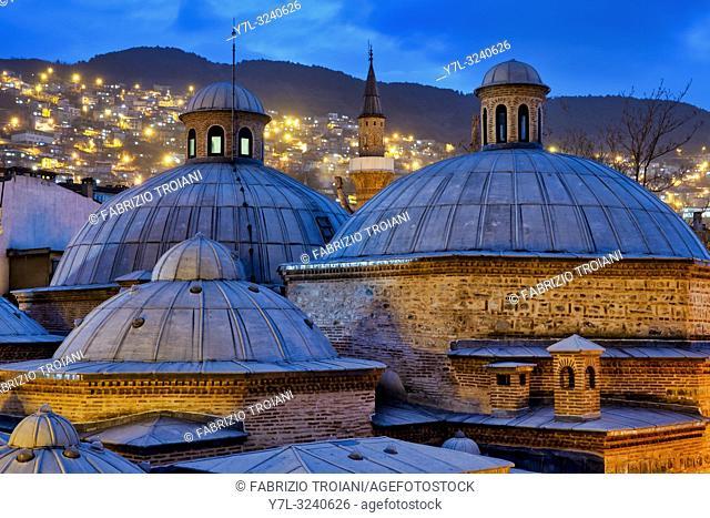 Rooftop of the Ibrahim Pasha Public Bath (now a cultural centre), Bursa, Turkey,