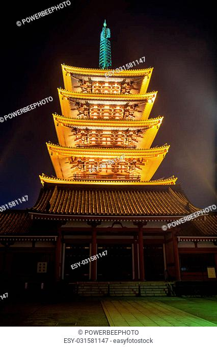 Five Story Pagoda, Sensoji Temple in nighttime Asakusa, Tokyo, Japan