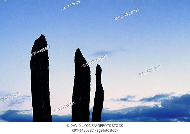 Kilmartin Valley, Argyll, Scotland  Prehistoric ritual landscape  3 of the standing stone megaliths of the Ballymeanoch site