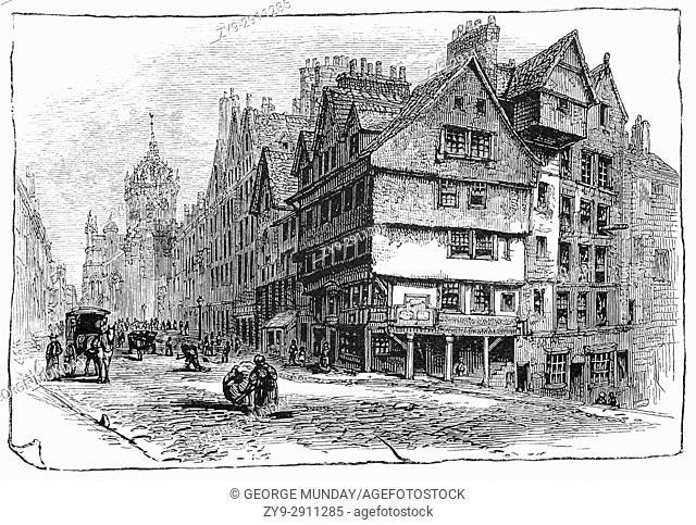 1870: The old West Bow was a precipitous, narrow Z-shaped street linking the Grassmarket with Castlehill. Edinburtgh, Scotland