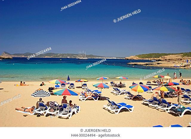 Ibiza beach , Cala Bassa beach ,west coast , people