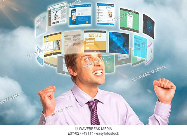Composite image of elegant businessman cheering with clenched hands against white background 3d