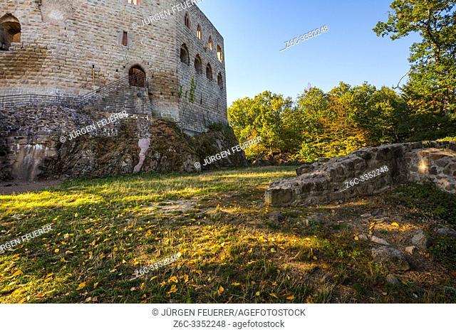 castle in the brorough of village Andlau with autum mood, Alsace, France, Spesburg, Château de Spesbourg