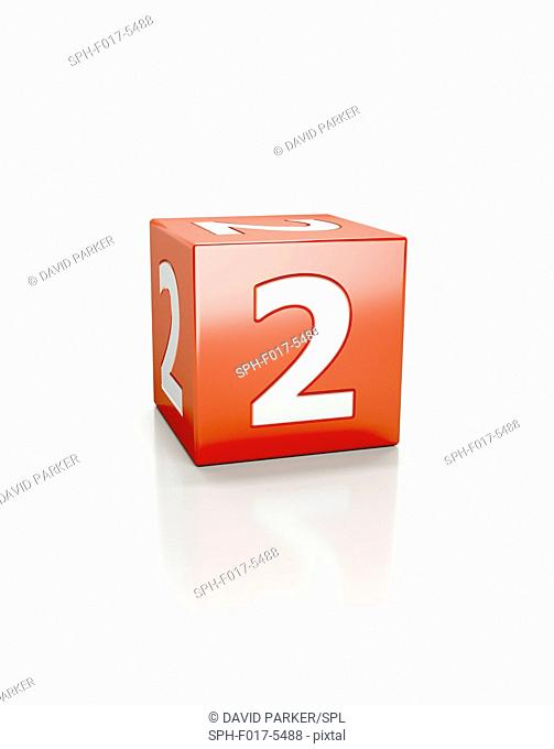 Red cube with the number three