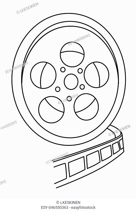 Cartoon image of Film reel. An artistic freehand picture