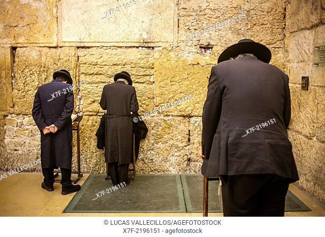 men's prayer area, praying at the Western Wall, Wailing Wall,in Wilson's arch, Jewish Quarter, Old City, Jerusalem, Israel