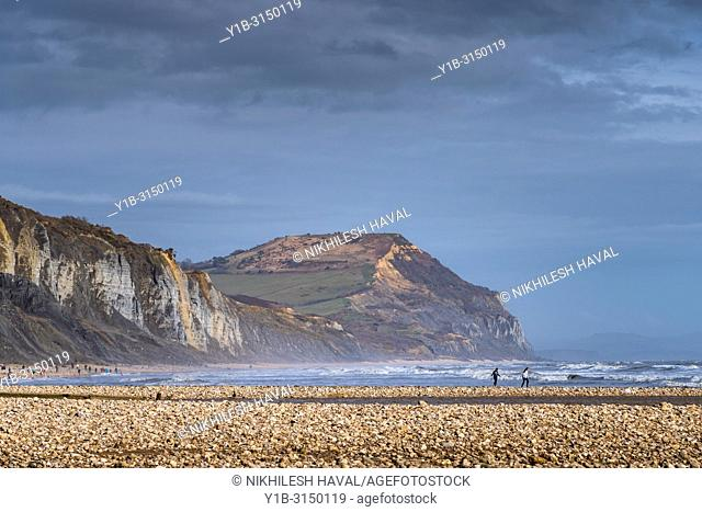 Golden cap, Charmouth beach, Dorset, UK