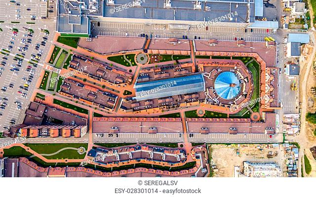 New outlet Center of Kiev suburbs in the Dutch style. Ukraine. Aerial view. From above. Top view